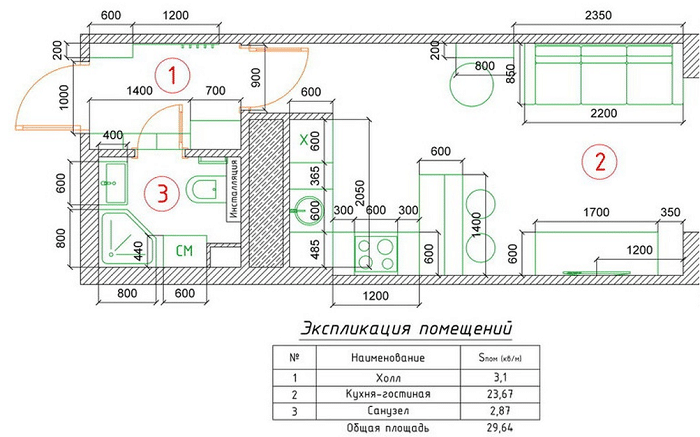 Общая схема планировки интерьера Полный дизайн проект в ЖК Сколково, Up-квартал Сколковский
