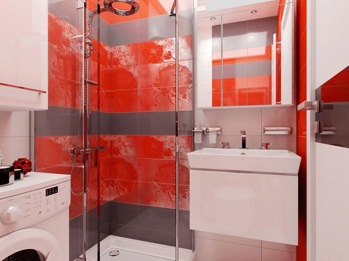 Ванна, встроена душевая кабина, подвесная раковина