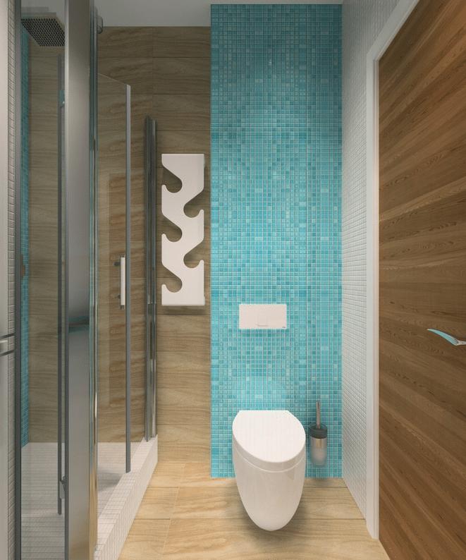 Инсталляция с подвесным унитазом в ванной.