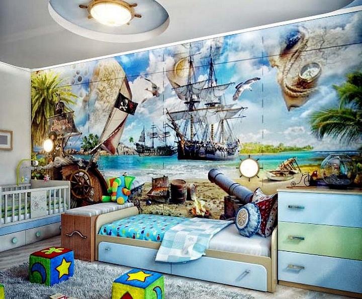 Обратите внимание на люстру - морской штурвал. Найти его не так просто, к сожалению производители мебели делают такие вещи в единичных экземплярах.