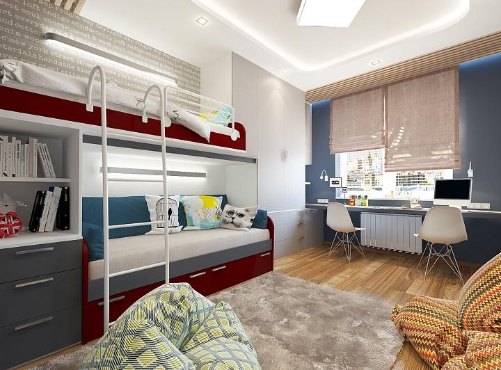 По бокам помещения расположены шкафы для одежды, зона рабочего стола начинается с подоконника.
