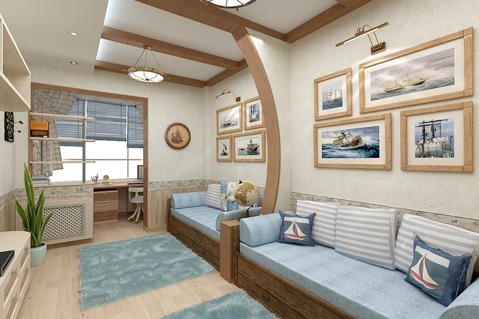 В этом дизайн проекте акцент взят на натуральные материалы. Боковина кровати имеет продолжение до потолка.