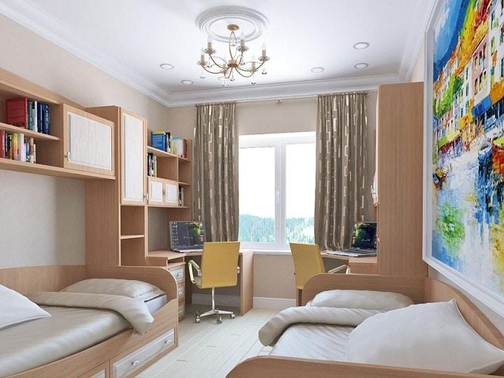 Дизайн проект комнаты выполнен в светлой палитре, мебель из МДФ. Функционально все разделено на зоны. Рабочая зона для учебы у окна, зона спальни в середине комнаты.