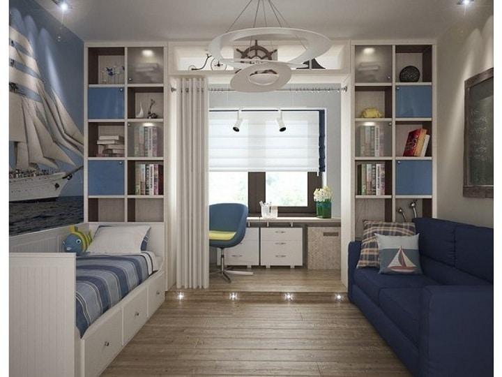 В больших комнатах зонировать комнату возможно на несколько мест. Шкафы могут отделять различные по функционалу помещения, например рабочую зону и спальню.