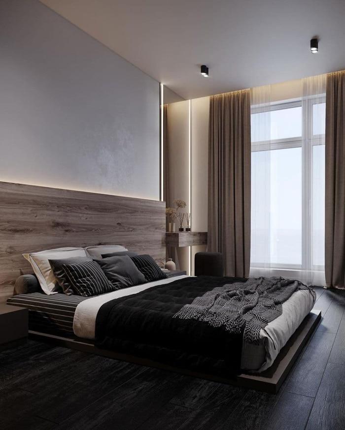 Двух спальная кровать на подиуме и деревянной спинкой в стиле лофт.