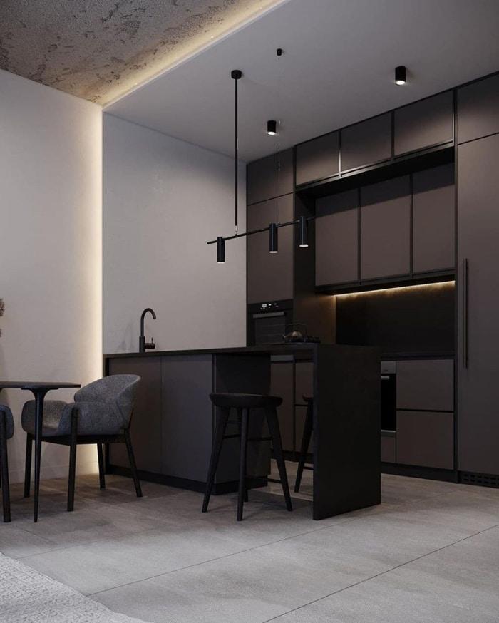 Современная кухня в стиле лофт без ручек до потолка. Освещение направленное и комбинированное.