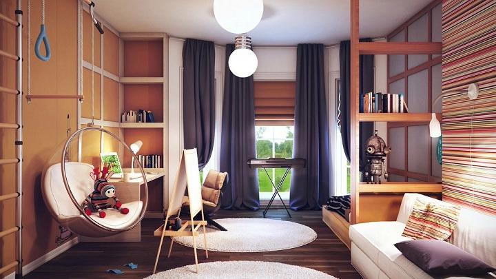 Еще один из вариантов разграничения пространства, высокие полки до потолка. В последнее время шведскую стенку размещают в интерьере, но не всегда она сочетается с общим стилем.