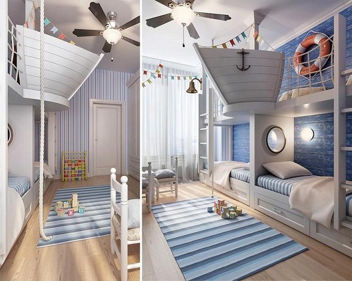 Один из лучших проектов по созданию неповторимого интерьера. Морской стиль в создании интерьера. Дети будут рады играть на палубе корабля.
