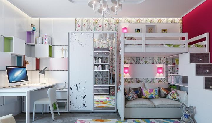 Современный стиль оформления детской комнаты.