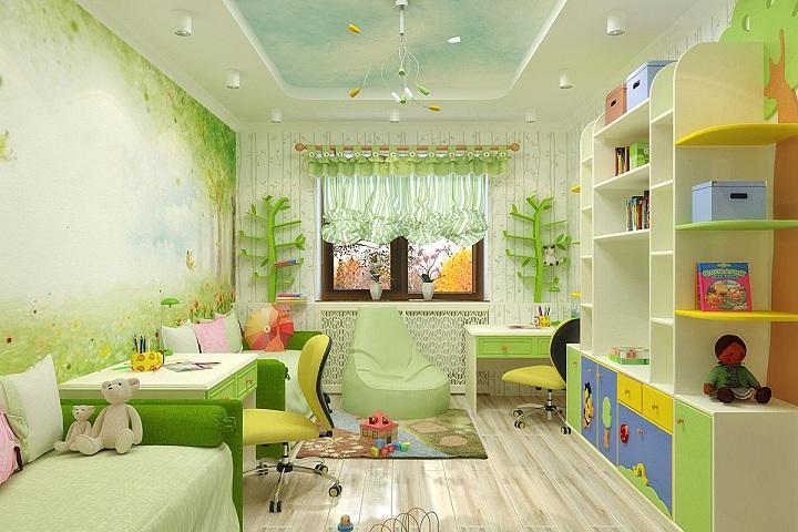 Зеленая комната создана для учебы и развлечений, спальные места отделяем письменный стол, второй при этом так же присутствует, но в углу.