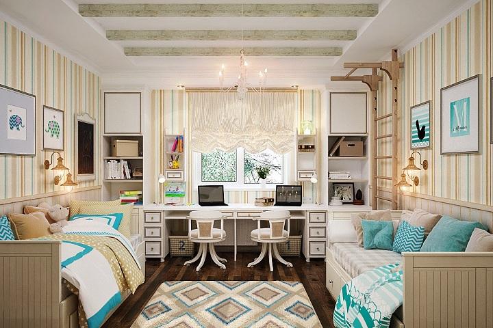 Классический пример симметричной комнаты. В интерьере устроены две учебные зоны, двойная подсветка, спортивный уголок.