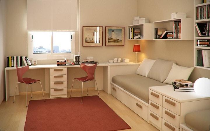 Сочетание белого и серого цвета в помещении. Вся мебель изготовлена на заказ, но при этом это не дорого. Материалы отделки простые и дешевые.