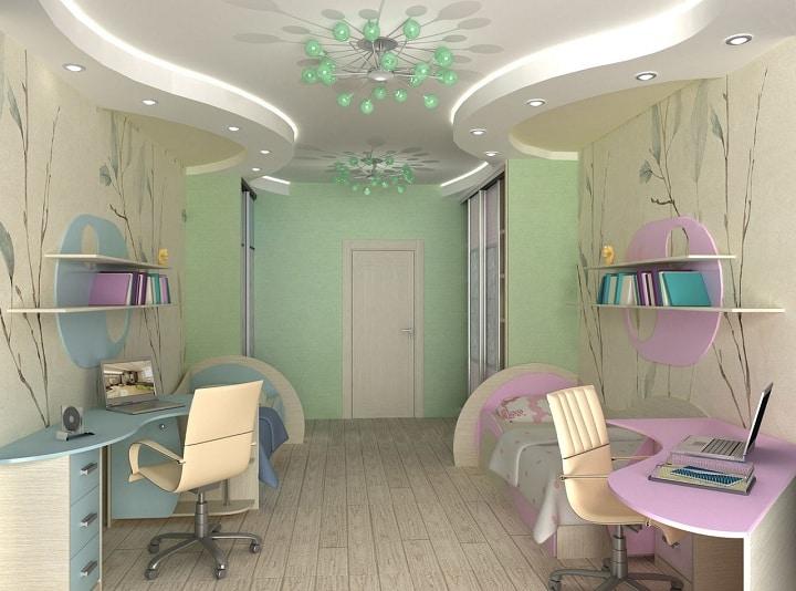Красота, поражающая воображение, комната спроектирована для двух школьников. Из особенностей помещения можно выделить удлиненную комнату, где все расположилось согласно проектной документации.