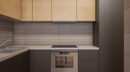 технический дизайн проект интерьера, квартиры и домов от 300р. кухня со встроенной духовой печкой и индукционной плитой в коричневых тонах