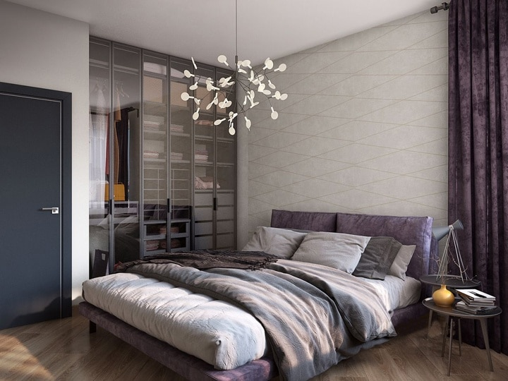 дизайнерская спальня с креативным шкафом и большой кроватью с бархатными подушками