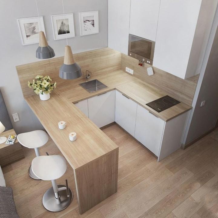 Вид сверху. Так как места очень мало, иногда целесообразно разместить складывающийся стол. Или как в текущем варианте выносную барную стойку.