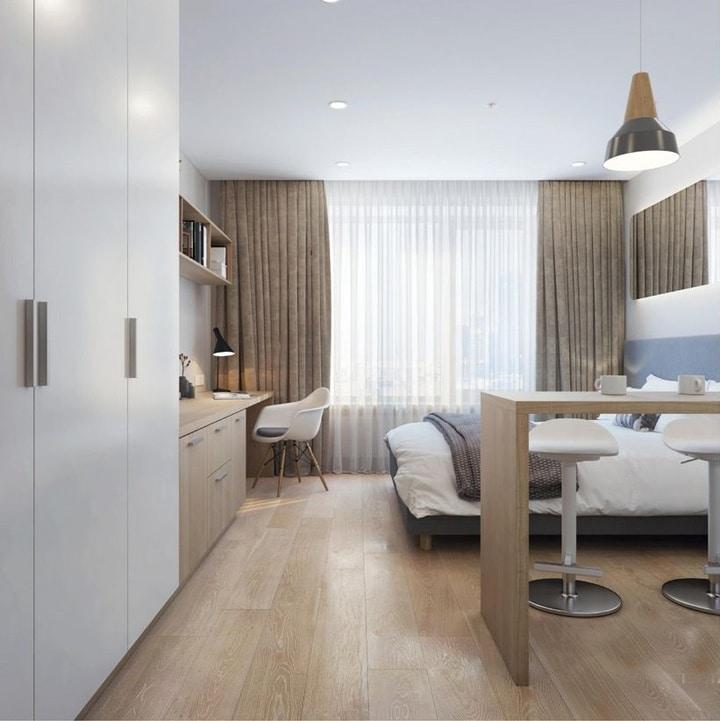Комната представляет собой спальню для проживания 2х человек. Кровать шириной 1600 мм.