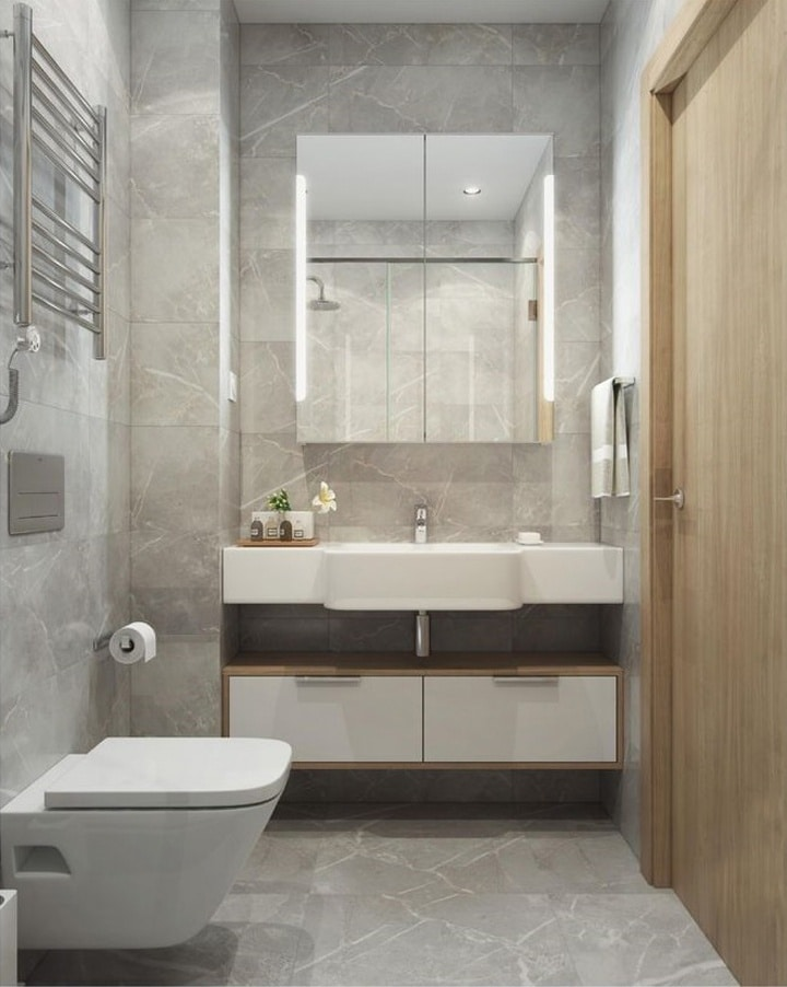 Технический проект ванной комнаты. Плитка под мрамор серого цвета.