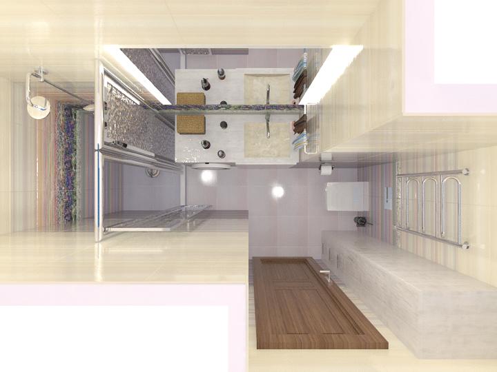 Вид сверху на ванную комнату с отделкой плиткой Уралкерамика Акварель.