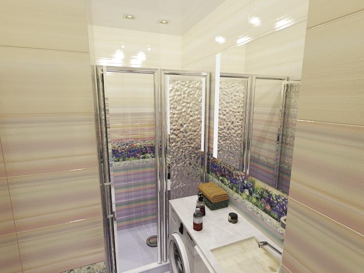 Вид на вход в ванную комнату.