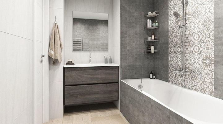 Ванна обычная с отделкой под серый мрамор.