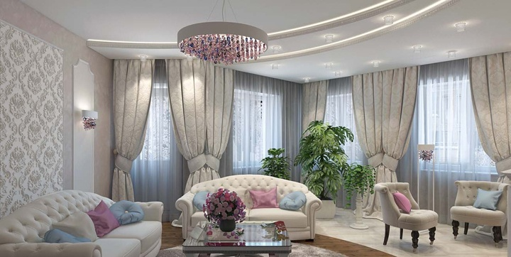 Белый матовый потолок изготовлен из гипсокартона. Полукруглые линии на нем создают законченность композиции. Он сочетается с полукруглой раскладной напольного покрытия.