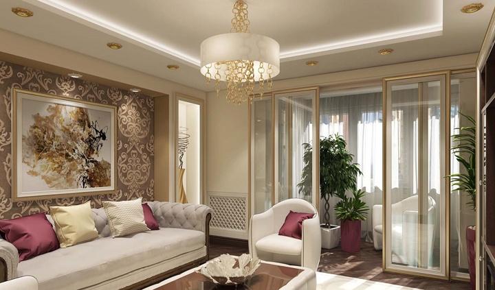 Бежевое исполнение помещения, большие стеклянные двери, массивная люстра в центре, кружева и завитки, так можно охарактеризовать замысел дизайнера.