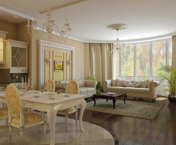 Оформление частного дома, светлые и темные тона бежевого цвета гармонируют с общим стилем.