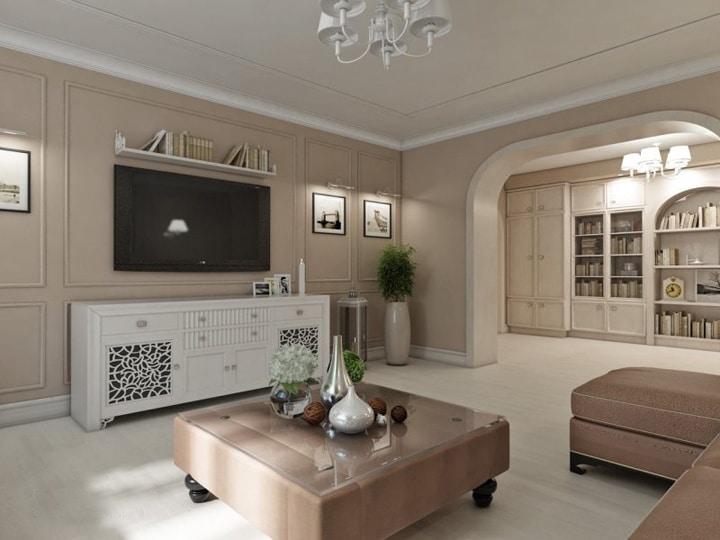 Серый и светло коричневые стены. Мебель стандартных размеров, куплена в обычных магазинах.