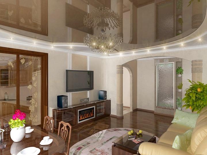 Глянцевый натяжной потолок коричневый. Реализация не сложная, но вот затраты достаточно большие.