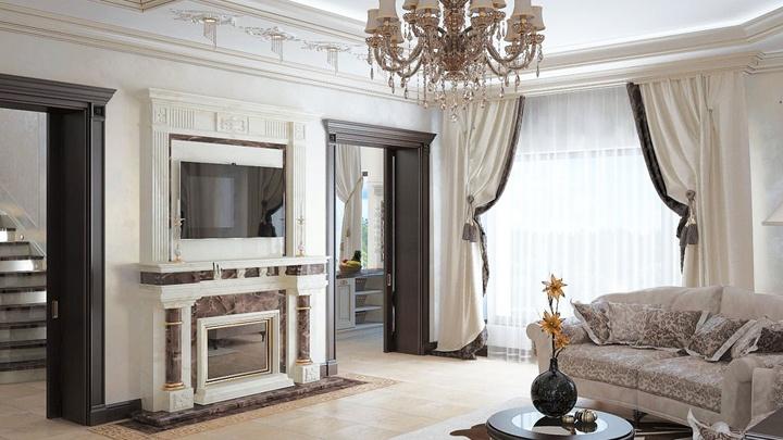 Богатые дверные проемы в сочетании с камином.