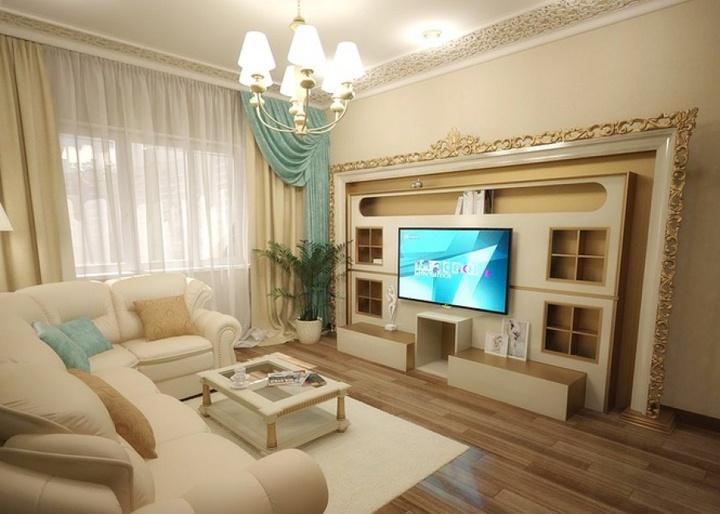 Симметричное оформление стены у телевизора из гипсокартона.