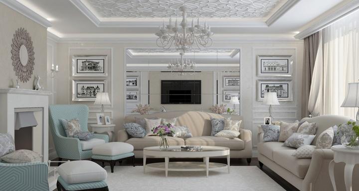Бирюзовый цвет великолепен, он подчеркивает статус и богатство мебели. Придает уют и заботу. темный пол и светлые стены, украшенные окантовкой. На потолке представлена фрезка ручной работы. Она придает законченный вид.