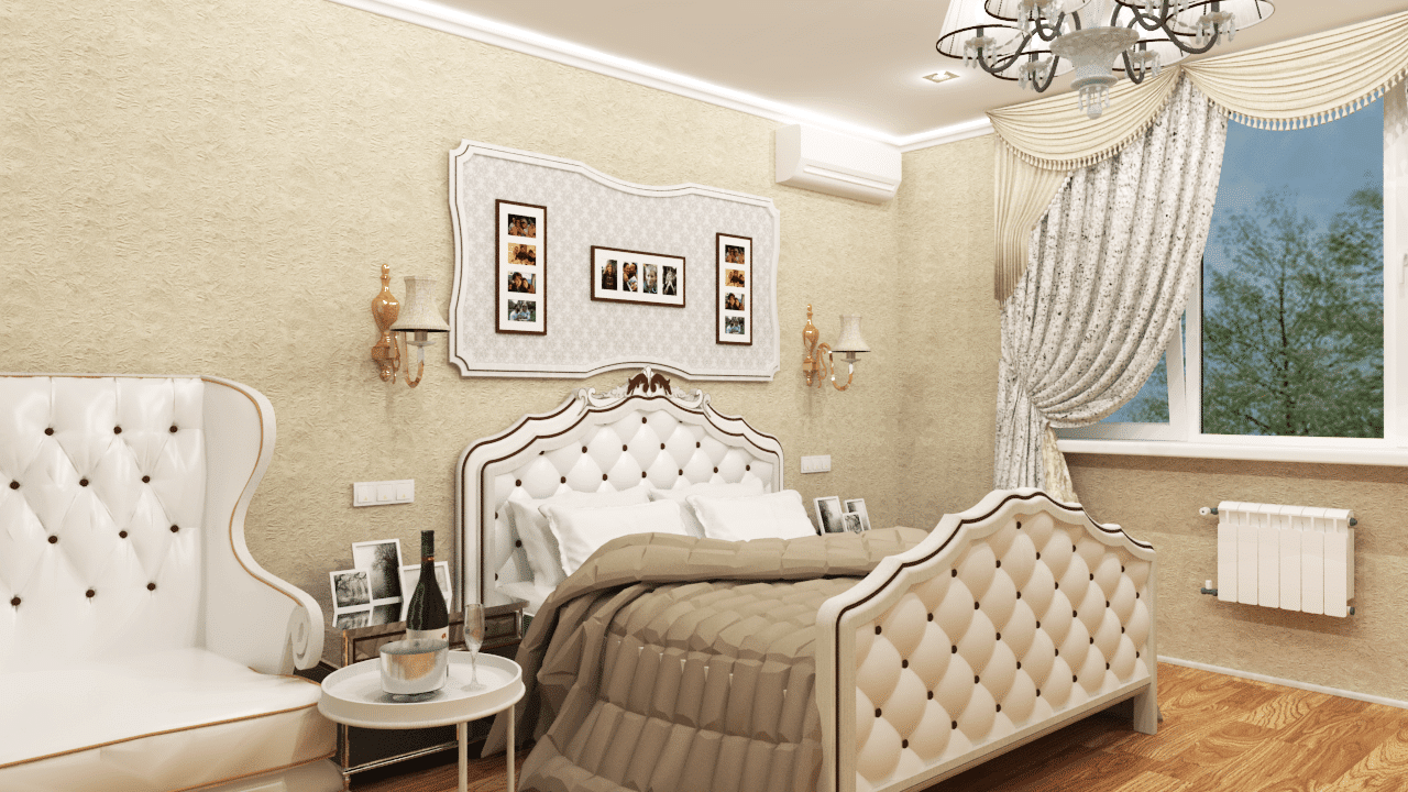Спальня в 3х комнатной квартире будет классического исполнения в бежевых тонах и оттенках. Коммуникации под кондиционер и другие предметы интерьера делаются и рассчитываются заранее. Мебель, представленная здесь, из типовых магазинов. Ее легко найти и приобрести.