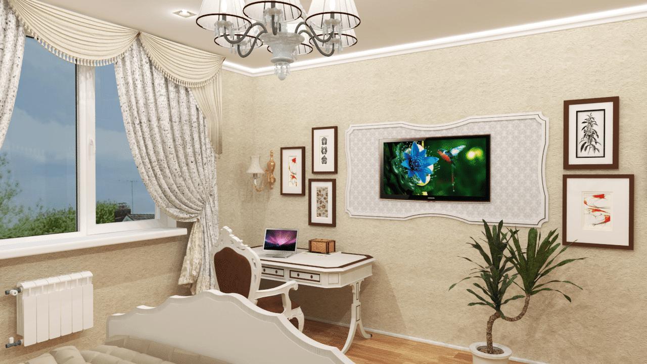 На противоположной стороне рабочее место и стильно оформленная стена с телевизором.