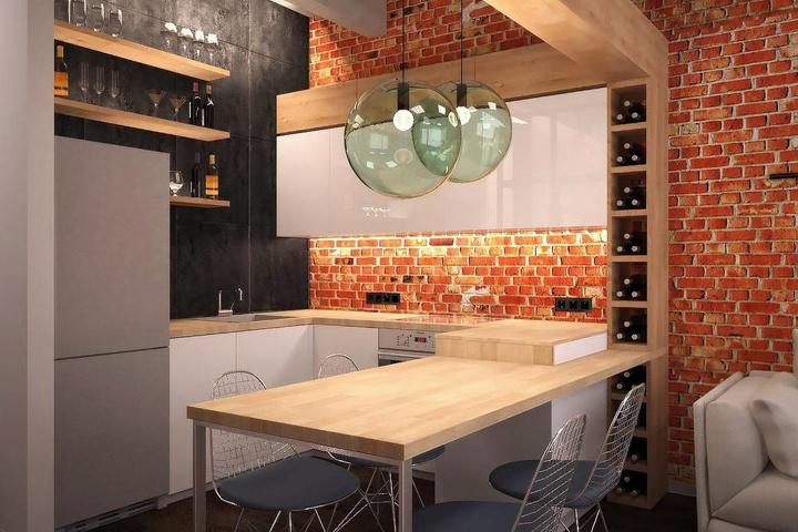 В однокомнатной квартире всегда будет лучший выбор будет использование вместо стола кухонное место.