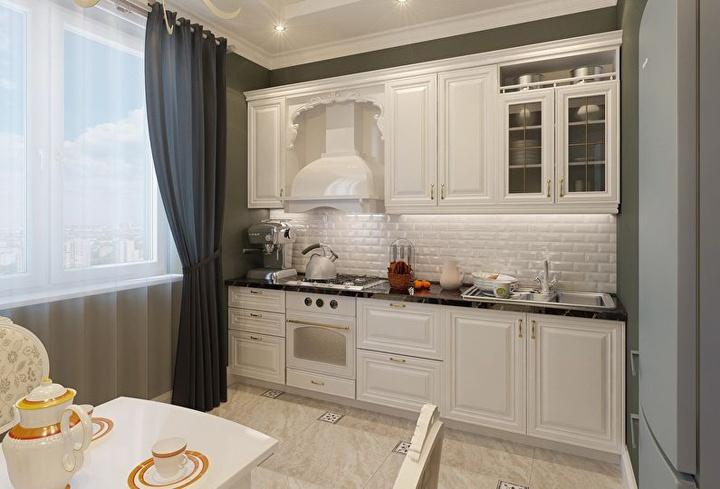 Для светлый кухонь и белого интерьера всегда выбирайте контраст. К примеру на полу темная плитка или на стенах тона по темнее. И тогда будет все гармонично складываться.
