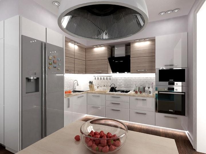 Двойной холодильник на кухне - это мечта многих домохозяек. Мы стараемся его использовать в крайнем случае. Лучший выбор будет установить два отдельно стоящих холодильника. Они более вместительны. Не всегда удается изменить мнение клиента.