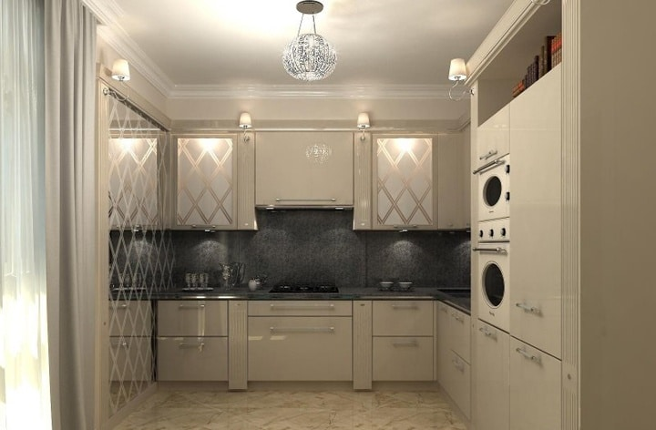 Кухня в стиле минимализм. Почти черная массивная столешница, фартук дублирует структуру по контуру материала. На верхних шкафах матовые стекла симметрично зоне готовке.