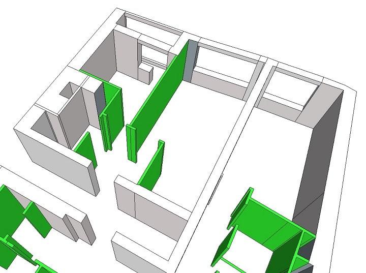Перед нами изначальная планировка, зеленым обозначены стены, которые можно переносить и изменять. В однокомнатной квартире на месте кухни была организована кладовая комната. тем самым мы убрали шкафы и увеличили свободное пространство не загромождая его.