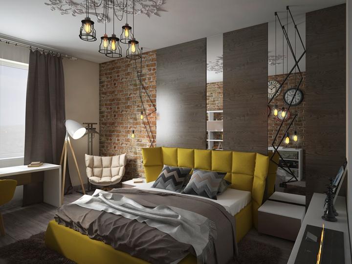 Грубый кирпич в сочетании с гладким деревом и зеркалами. дизайн проект спальни фото 2019 — 2020 современные идеи.