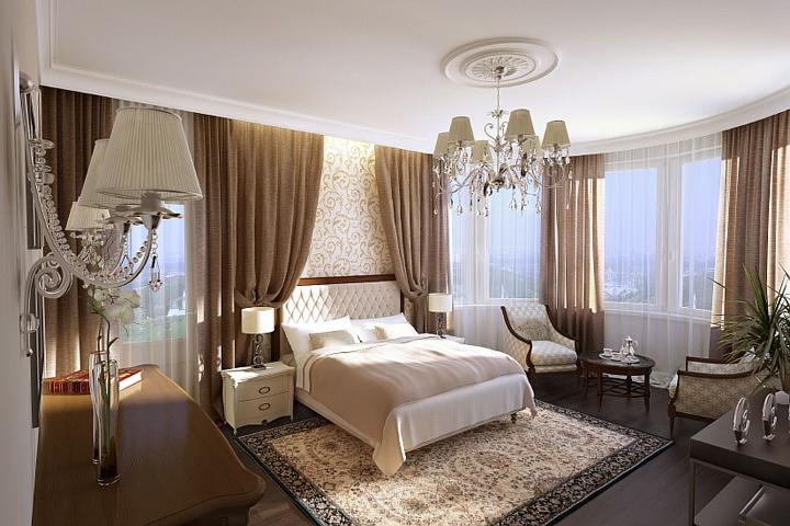 Если у вас достаточно большое помещение, то можно рассмотреть возможность размещения в не стандартных местах мебели. Кровать в данном случае размещена между окнами и не примыкает к главной стене.