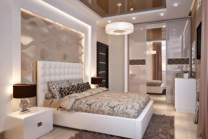 В данном варианте добавили бежевых тонов с розовым цветом. И спальня заиграла по другому. Темный глянцевый натяжной потолок, богатые и насыщенные тона. Оцените красоту стиля.