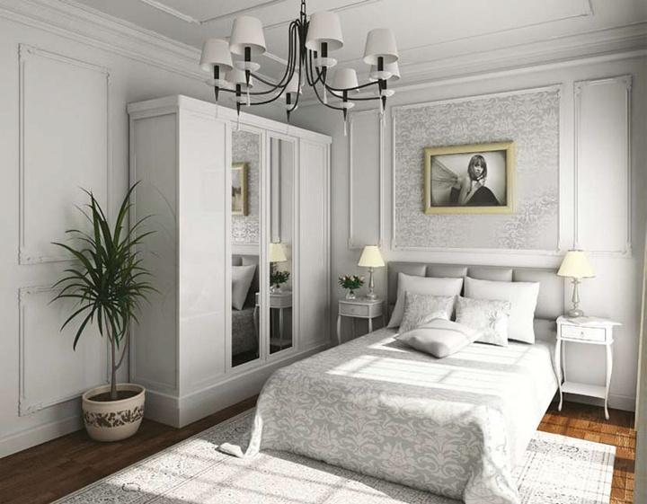 Яркий пример классической белой спальни, текстуры переплетаются между собой и декоративными элементами. Легкие воздушные тумбы и правильная установка освещения подчеркивают слить и гармонию.