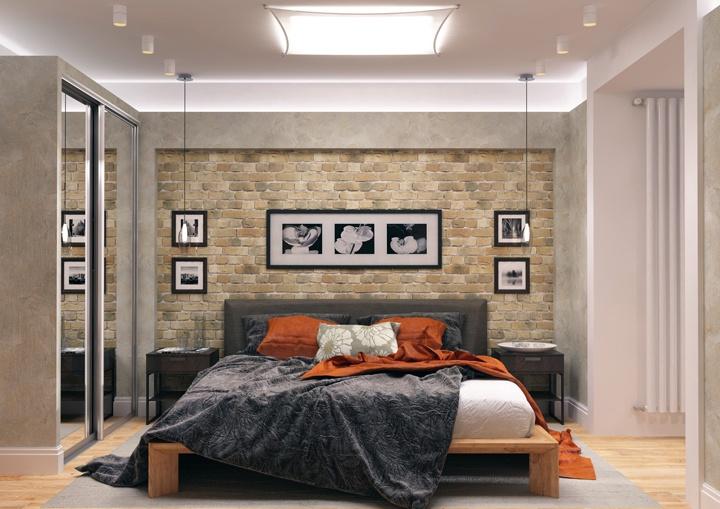 Плитка или декоративный кирпич на тыльной стороне стены. Главное помнить о эксплуатационных показателях и условиях применения материалов. Не всегда они уместны.