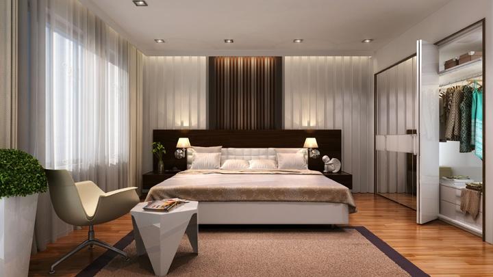 Вертикальное оформление на стене в двух цветном исполнении белом и коричневом наилучшим образом сочетается со шторами. Встроенный шкаф купе с зеркальными элементами конструкций. Темная инженерная доска уложена на пол. Тумбы выполнены в стиле хай тек и минимализм. Оцените затею мастера.