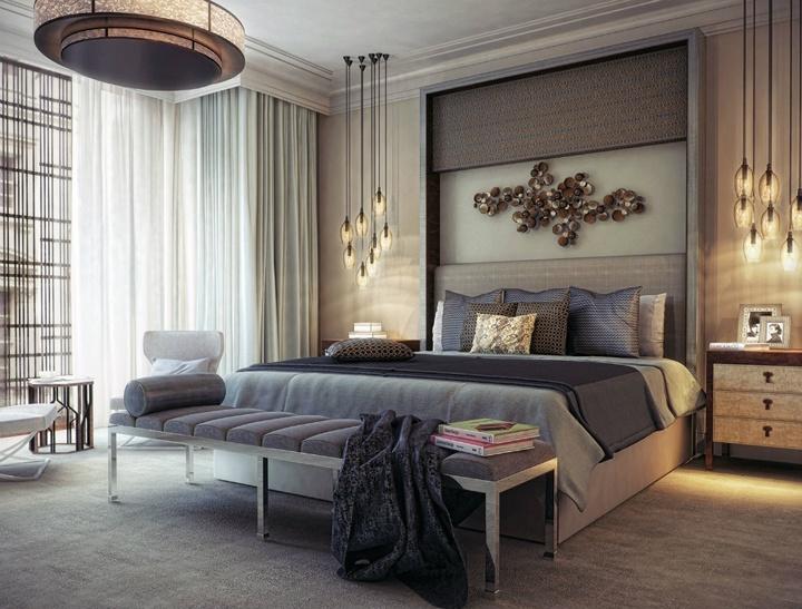 Выемки в стене или наращивание отдельных элементов около кровати это еще один из приемов обрамления интерьера. Ознакомьтесь с решением.