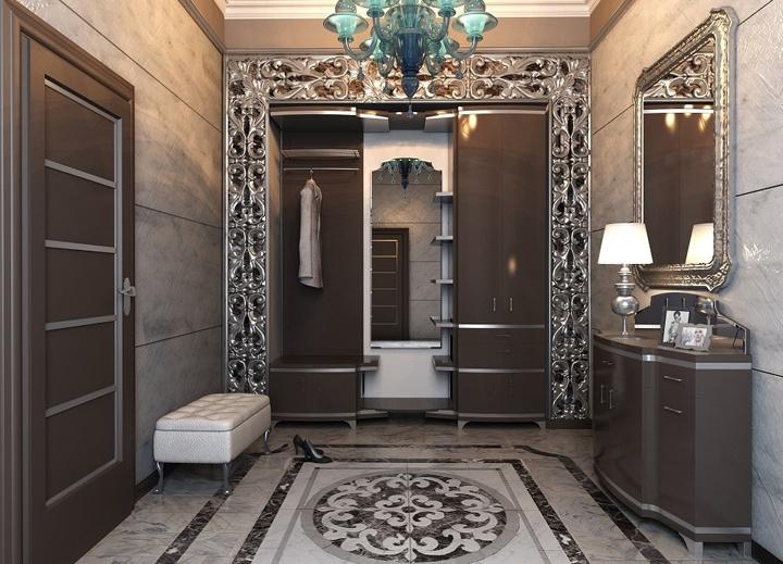В больших интерьерах можно уложить плитку с декоративным рисунком. И использовать на пример оформление в стиле Арт Деко.