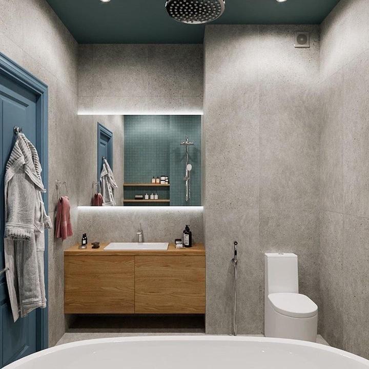 Визуализация ванной, стены отделаны серой керамической плиткой, раковина встроена в нишу.