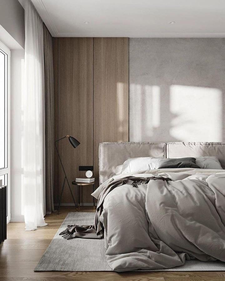Стильная спальня в серых тонах, отделка деревянными панелями.
